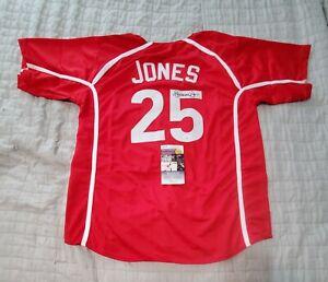 ANDRUW JONES Ratuken Autographed signed Custom baseball Jersey JSA COA
