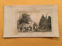 K5) 1837 Etats-Unis D'Amerique Albany New York Street View Original Engraving