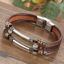 ARMBAND BREIT Surferarmband-Unisex Bracelet FAUXLeder Armband Motto Wörter N7M0