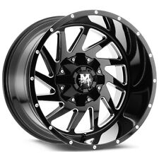 4-NEW Off-Road Monster M12 20x12 6x135/6x139.7 -44mm Black/Milled Wheels Rims