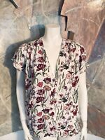 L.O.G.G. H&M White Floral Popover Short Sleeve Blouse Top Size 12