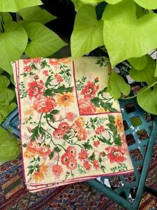 "April Cornell~Yellow/Orange Floral~Bordered~Rectangular Tablecloth 57""X94""~GUC!"