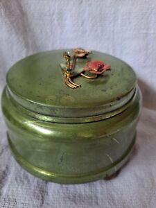 Antique Mid-Century 1940's Metal Music Powder Box - working Condition