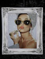 Audrey Hepburn Plata/Oro Brillo Lienzo cuadro Shabby Chic Marco, Pared Arte.