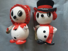 Vintage Christmas Adorable Styrofoam Snowman Couple Decoration Set of 2