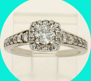 .74CT Platinaire diamond halo engagement ring round brilliant sz6 hypoallergenic