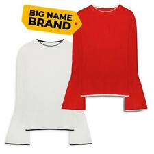 Ladies Womens Red White Bell Sleeve Jumpers Sweatshirts Thin Knit 8 10 12 14 16