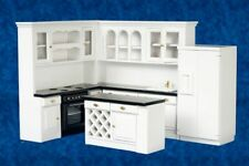 Dollhouse Miniature Gourmet Kitchen Furniture Set in White and Black