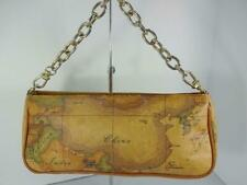 ALVIERO MARTINI 1A CLASSE MAP CANVAS TOTE WRISTLET POUCHETTE CLUTCH BAG HANDBAG
