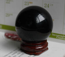 New NATURAL OBSIDIAN POLISHED BLACK CRYSTAL SPHERE BALL 40MM +STAND~