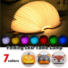 7 Color Folding Book LED Night Light USB Rechargeable Bedroom Table Decor