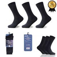 Mens Socks Size 6-11 Black Rich Cotton Soft + Lycra Casual Suit 3,6,9,12 Pairs