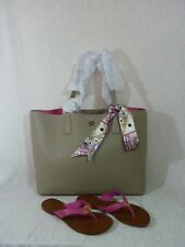 NWT Tory Burch French Gray/Dark Peony Pink Perry Tote + THORA Sandals Sz 6