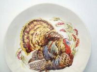 Pottery Barn Thanksgiving Water Color Turkey Appetizer Salad Plate Set of 4 New
