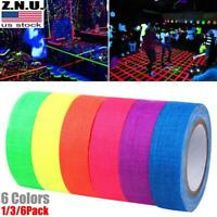 1/3/6 Rolls UV Reactive Tape Blacklight Fluorescent Tape Glow in Dark Neon Decor