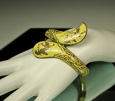 RARE! 1945-49 SIAM STERLING Silver YELLOW NIELLO ENAMEL Hinged Bypass Bracelet
