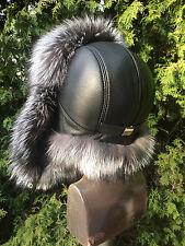 Saga Silver Fox Fur Hat Leather Top Men's Hat