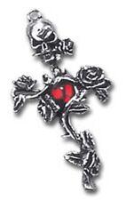 NUOVO Alchemy Gothic RED ROSE Thorn Croce Teschio Goccia Orecchino E130