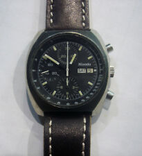70s Nivada Three Registers PVD Case Men Size Chronograph Valjoux Cal.7750