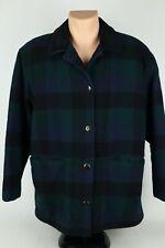 Vintage Woolrich Womens Large Black Watch Plaid Wool/Nylon Chore Coat Jacket USA