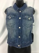 * Bebe * Denim & Crochet Lace Back Distressed Vest Size XS NWT MSRP 109.00