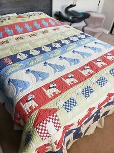Vintage Pottery Barn Dog Quilt, Charming, Full/Queen, EUC