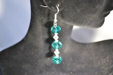 Hand Made Earrings Turquoise Glass Drop Earrings Pierced