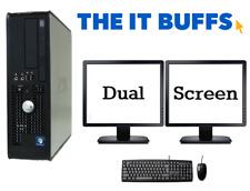 Dell Dual CPU 8GB RAM 250GB Windows 10 Desktop PC Computer Dual Screen Bundle