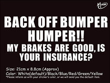 BACK OFF BUMPER HUMPER funny reflective CAR TRUCK STICKERS  BEST GIFT-