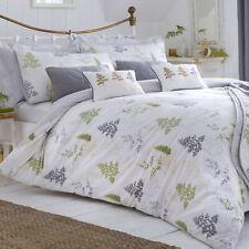 Dreams & Drapes LINDEN FERN Green and Grey Leaf Tree Duvet Cover / Bedding Set