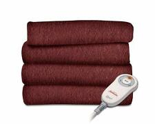 Sunbeam Garnet Red Heated Throw Blanket Fleece Electric EXTRA SOFT