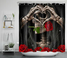 Halloween Undead Woman Skull Red Roses Waterproof Polyester Shower Curtain 72""