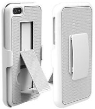 PUREGEAR WHITE TEXTURED CASE COVER STAND + BELT CLIP FOR iPHONE 5 5s SE (2016)