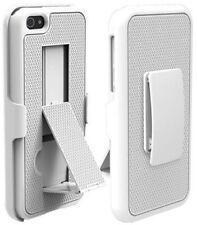 PureGear Blanco Texturizado Funda Soporte + Clip Cinturón Para IPHONE 5 5s Se (