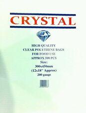 "1000x Clear Plastic LDPE Food Poly Bags 12""x18"" 200g (2x Box)"