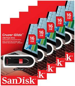 5 Pack SanDisk 16GB Cruzer Glide USB 2.0 Flash Drive SDCZ60-016G-B35 Retail