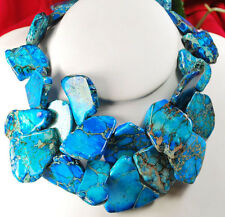 "Graceful! Blue African Jasper Nugget Silver Toggle Huge Long Necklace 20"" Large"