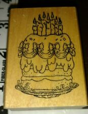 Tall Birthday Cake, art impressions,27,rubber, wood
