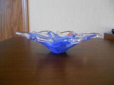 Murano glass Italy Dish, Dark Blue Swirls with White Glass Tips
