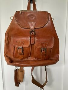 Vintage Tan LEATHER Hand Made in Greece Backpack Satchel Zip Buckles Rucksack