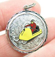 Vintage Sterling Silver Enamel Santa Claus Sleigh Snowmobile Bracelet Charm