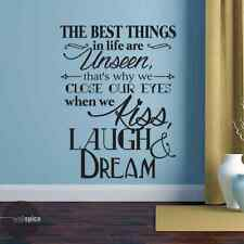 The Best Things In Life Are Unseen Close Our Eyes When We Kiss Vinyl Wall Decal