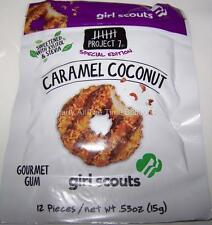 3 Pks Project 7 NEWEST Flavors Girl Scouts CARAMEL COCONUT Gourmet Gum FREE SHIP
