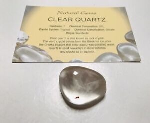 Clear  Quartz Tumblestone master healer with free organza bag and  Card