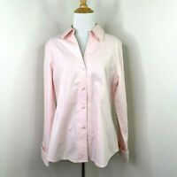 Jones New York Blouse Women's 10 Platinum Non-Iron Career Pink Long Cuff Shirt