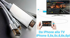 Adattatore USB VIDEO HDMI da iPhone a TV. 5,5s,5c,6,6s,6plus,7.Cavo AV USB HD AV