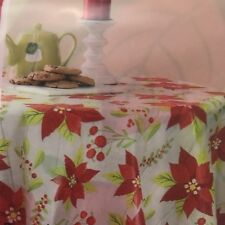 "Holiday Time Rectangle 60 x 102"" Xmas Holiday Poinsettias Vinyl Tablecloth Red"