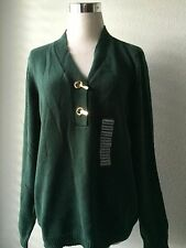 Charter Club Clip Front Sweater Dark Evergreen M