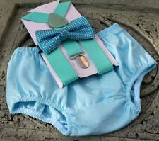 1st Birthday boy cake smash diaper cover bow tie boy clothes Light blue mint