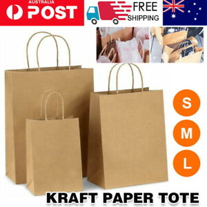50X Kraft Paper Bags Bulk Gift Shopping Carry Craft Brown Bag with Handles AU